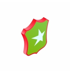 Shield star icon isometric 3d style vector