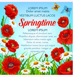 Spring flowers poster springtime greetings vector