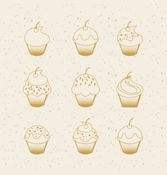 Sweet cupcakes icon vector