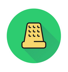 Thimble for hand sewing icon on round background vector