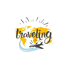 traveling icon world tour hand drawn lettering vector image