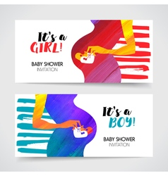 Newborn baby shower greeting cards vector image