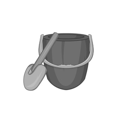 Bucket and shovel icon black monochrome style vector