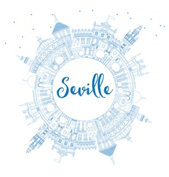 Outline seville skyline with blue buildings vector