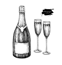 Champagne bottle and glass hand drawn isolated vector