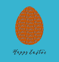 Happy easter greeting card with egg vector