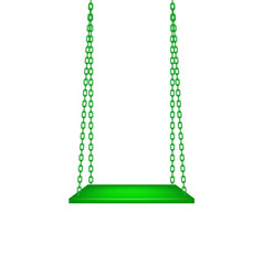 Wooden green swing hanging on green chains vector