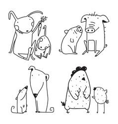 chicken dog rabbit pig family childish cartoon vector image