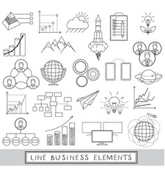 Line icons set with business elements vector