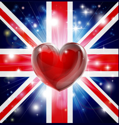 love uk flag heart background vector image