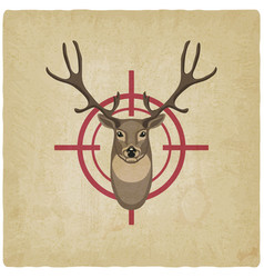 Deer head on red target vintage background vector