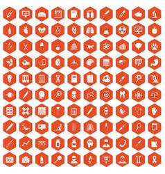100 diagnostic icons hexagon orange vector