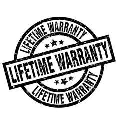 Lifetime warranty round grunge black stamp vector