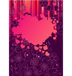 frame with big pink heart vector image
