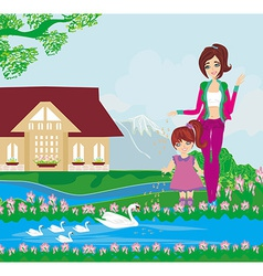 Mother and daughter feed the swans vector