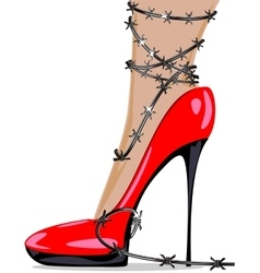Red shoe and wire vector