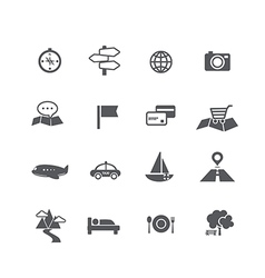 Set of tourism and travel map navigation icon vector