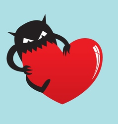 monster eat love vector image