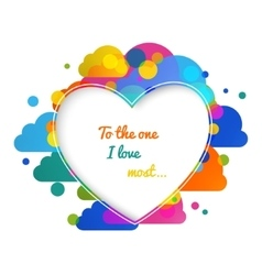 Valentines day hearts greeting card on colorful vector image