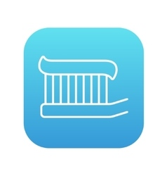 Toothbrush with toothpaste line icon vector