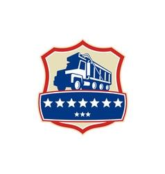 Triple Axle Dump Truck Stars Crest Retro vector image