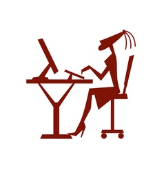 Stylized silhouette of girl working on computer vector