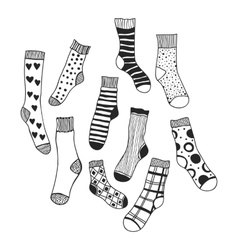 Black and white doodle socks isolated vector