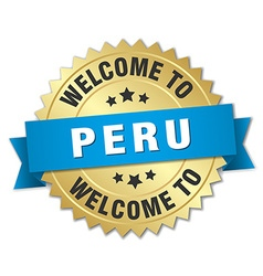 Peru 3d gold badge with blue ribbon vector