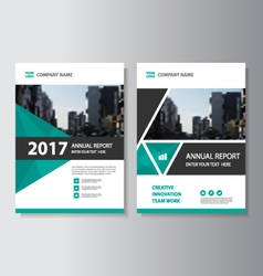 Green triangle annual report leaflet brochure set vector