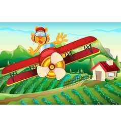 A plane with a lion flying above the farm vector image vector image