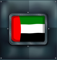 Arab emirates flag on metalic wall vector