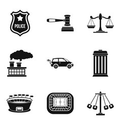 Bad ecology icons set simple style vector