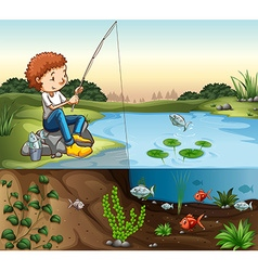 Boy fishing by the river vector image