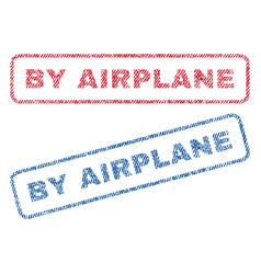 By airplane textile stamps vector