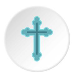 christian cross icon circle vector image