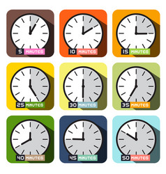clock icons different time clock face set vector image vector image