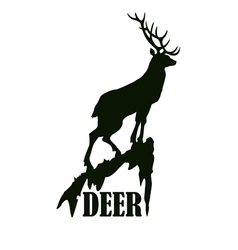 Deer on the rock logo design template vector