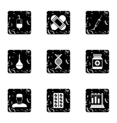 Diagnosis icons set grunge style vector