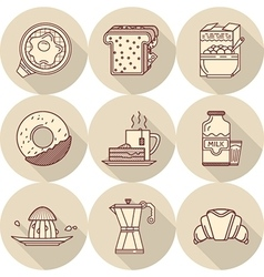 Flat line icons for tasty breakfast vector image