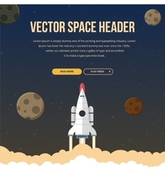 Flat rocket header background image vector image vector image
