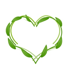 Fresh Green Leaves Forming in Heart Shape vector image vector image
