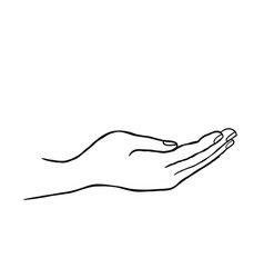 Giving hand sign support icon doodle line art vector