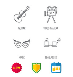 Guitar music video camera and theatre mask icons vector