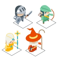Isometric fantasy rpg game character icons vector