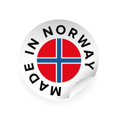 made in norway sticker tag vector image vector image