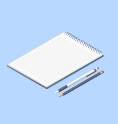 Opened notepad with pencil and pen sketchbook or vector