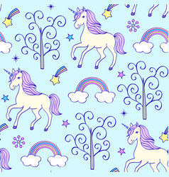 pattern with unicorns vector image