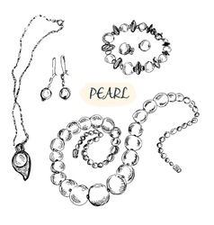 Pearl jewelry vector