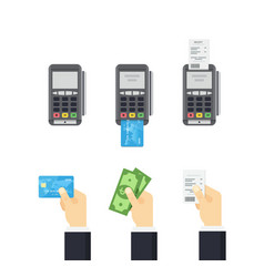 Pos terminal and credit card processing - vector