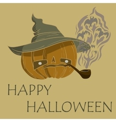 pumpkin with hat smoking vector image vector image